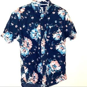 Old navy blue pink S hawaiian floral button down